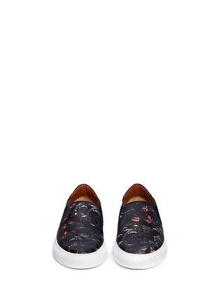Front View - Click To Enlarge - Givenchy - Monkey print leather skate slip-ons