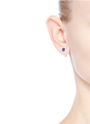 Figure View - Click To Enlarge - Pamela Love - 'Gravitation' diamond pavé 18k gold lapis earrings