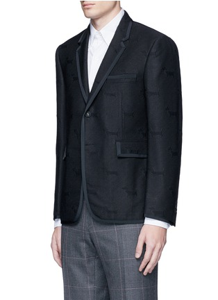 Front View - Click To Enlarge - Thom Browne - 'Hector' wool stamp jacquard blazer
