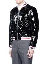 Padded patent leather varsity jacket