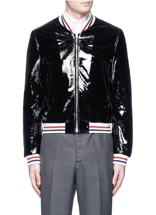 Thom Browne - Padded patent leather varsity jacket