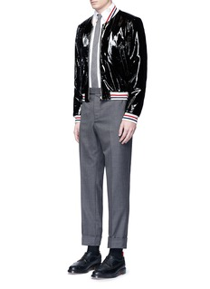 Thom Browne Padded patent leather varsity jacket