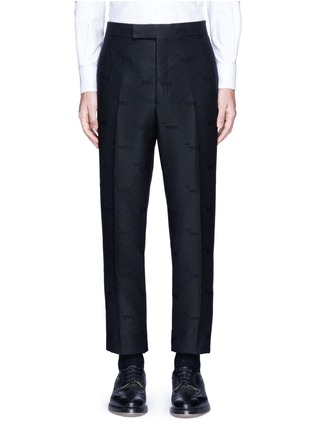 Main View - Click To Enlarge - Thom Browne - 'Hector' wool stamp jacquard pants