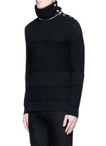 Detachable turtleneck wool-cotton sweater