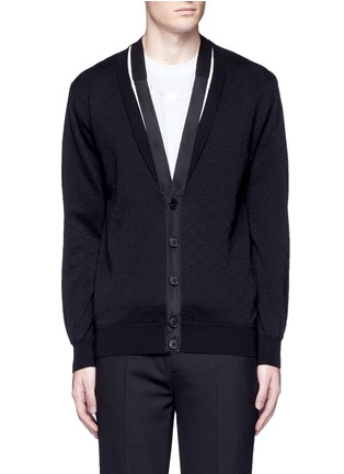 Givenchy - Ribbon trim geometric jacquard cardigan