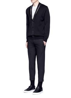 GivenchyRibbon trim geometric jacquard cardigan