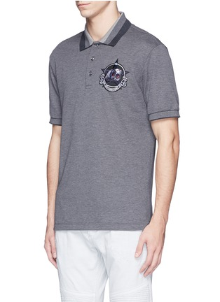 Front View - Click To Enlarge - Givenchy - Star monkey patch embroidery polo shirt