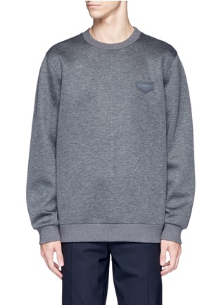 Main View - Click To Enlarge - Givenchy - Leather logo patch marled scuba jersey sweatshirt