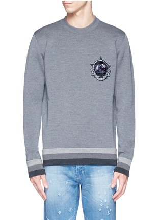 Main View - Click To Enlarge - Givenchy - Monkey patch bonded wool sweater