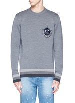 Monkey patch bonded wool sweater