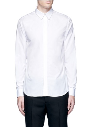 Main View - Click To Enlarge - Givenchy - Chain link collar cotton poplin shirt