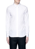 Chain link collar cotton poplin shirt