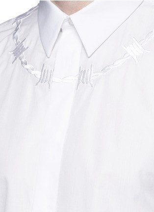 Detail View - Click To Enlarge - Givenchy - Barb wire embroidery cotton shirt