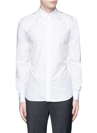 Main View - Click To Enlarge - Givenchy - Barb wire embroidery cotton shirt