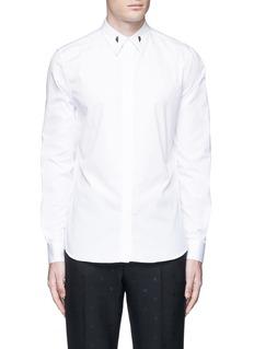GivenchyStar engraved collar bone poplin shirt