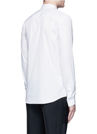 Back View - Click To Enlarge - Givenchy - Metal collar tip cotton shirt