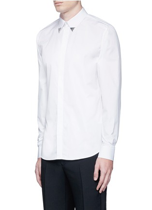 Front View - Click To Enlarge - Givenchy - Metal collar tip cotton shirt
