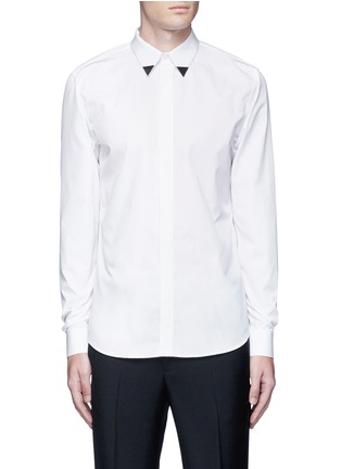Main View - Click To Enlarge - Givenchy - Metal collar tip cotton shirt