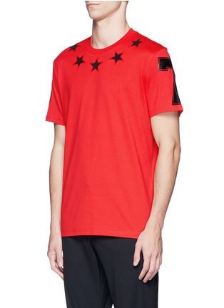 Front View - Click To Enlarge - Givenchy - '74' print star patch T-shirt