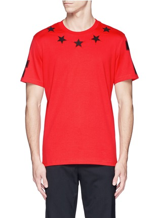 Main View - Click To Enlarge - Givenchy - '74' print star patch T-shirt