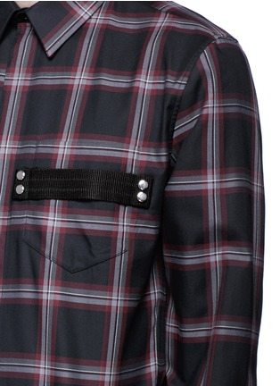 Detail View - Click To Enlarge - Givenchy - Pocket strap check plaid cotton shirt