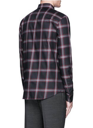 Back View - Click To Enlarge - Givenchy - Pocket strap check plaid cotton shirt