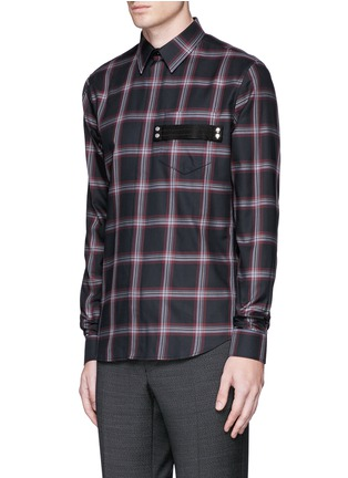 Front View - Click To Enlarge - Givenchy - Pocket strap check plaid cotton shirt