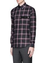 Pocket strap check plaid cotton shirt