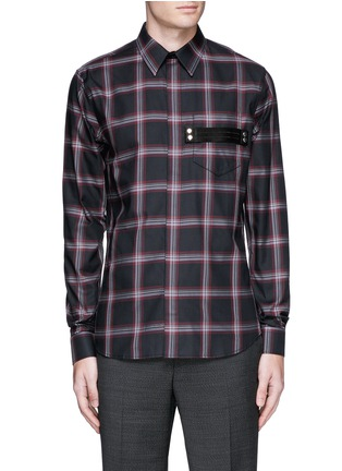Main View - Click To Enlarge - Givenchy - Pocket strap check plaid cotton shirt