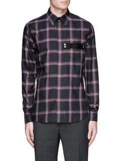 Givenchy Pocket strap check plaid cotton shirt