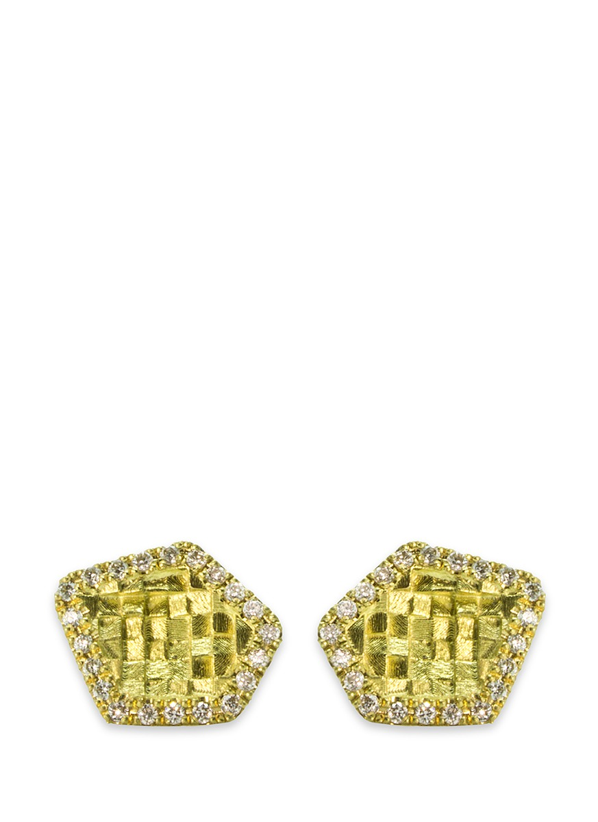 Small 5 Sided Stratus diamond 18k yellow gold stud earrings by Jo Hayes Ward