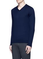 Floral intarsia V-neck sweater