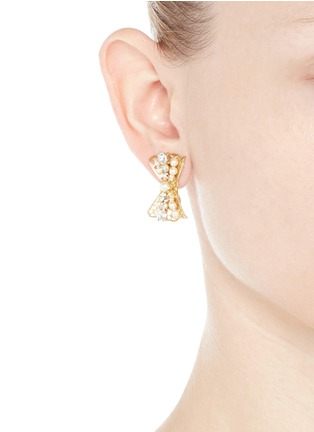 Figure View - Click To Enlarge - Miriam Haskell - Baroque glass pearl crystal bow stud earrings