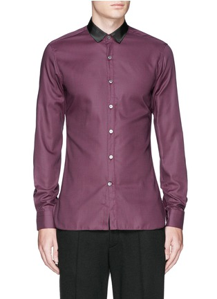 Main View - Click To Enlarge - Lanvin - Grosgrain collar cotton poplin shirt