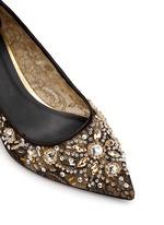 网眼蕾丝宝石高跟鞋