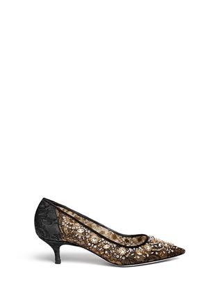 首图 - 点击放大 - RENÉ CAOVILLA - 网眼蕾丝宝石高跟鞋