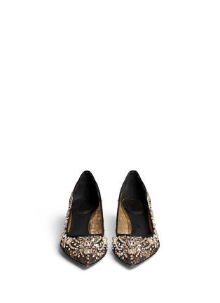 模特儿示范图 - 点击放大 - RENÉ CAOVILLA - 网眼蕾丝宝石高跟鞋