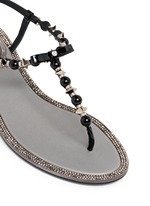 Strass border faux pearl T-strap sandals