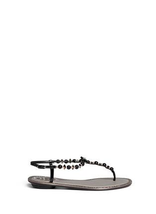 首图 - 点击放大 - RENÉ CAOVILLA - 人造珍珠水晶蝴蝶结平底凉鞋
