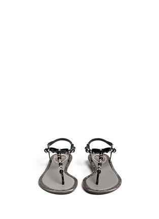 模特儿示范图 - 点击放大 - RENÉ CAOVILLA - 人造珍珠水晶蝴蝶结平底凉鞋