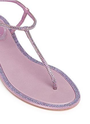 细节 - 点击放大 - RENÉ CAOVILLA - 缎面仿水晶装饰夹脚平底凉鞋