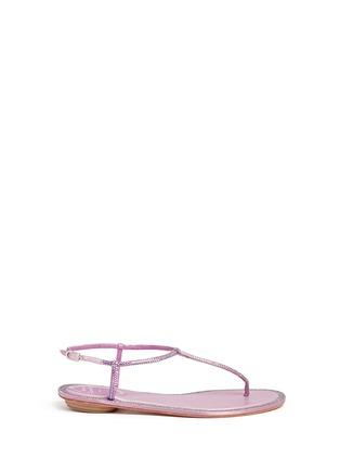 René Caovilla-'Cupido' strass border satin T-strap sandals