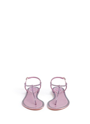 模特示范图 - 点击放大 - RENÉ CAOVILLA - 缎面仿水晶装饰夹脚平底凉鞋