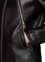 Zip front leather biker jacket