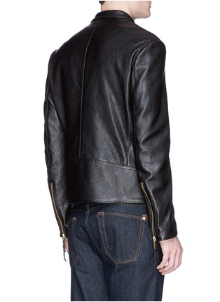 背面 - 点击放大 - MAISON MARGIELA - Zip front leather biker jacket