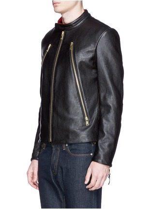 正面 -点击放大 - MAISON MARGIELA - Zip front leather biker jacket