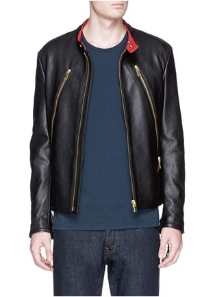 首图 - 点击放大 - MAISON MARGIELA - Zip front leather biker jacket