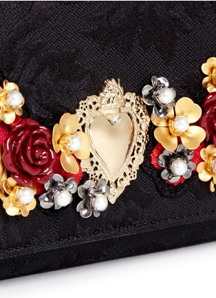 Detail View - Click To Enlarge - Dolce & Gabbana - Rose heart appliqué brocade crossbody phone case