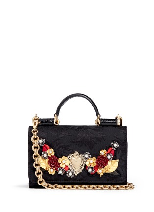 Main View - Click To Enlarge - Dolce & Gabbana - Rose heart appliqué brocade crossbody phone case
