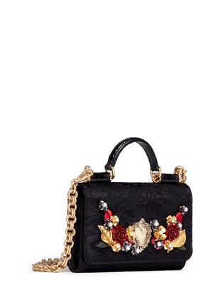 Figure View - Click To Enlarge - Dolce & Gabbana - Rose heart appliqué brocade crossbody phone case